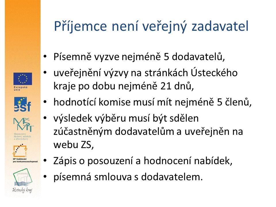 Příjemce není veřejný zadavatel Písemně vyzve nejméně 5 dodavatelů, uveřejnění výzvy na stránkách Ústeckého kraje po dobu nejméně 21 dnů, hodnotící komise musí mít nejméně 5 členů, výsledek výběru musí být sdělen zúčastněným dodavatelům a uveřejněn na webu ZS, Zápis o posouzení a hodnocení nabídek, písemná smlouva s dodavatelem.