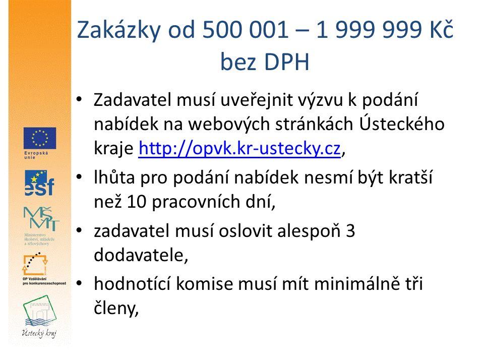 Zakázky od 500 001 – 1 999 999 Kč bez DPH Zadavatel musí uveřejnit výzvu k podání nabídek na webových stránkách Ústeckého kraje http://opvk.kr-ustecky.cz,http://opvk.kr-ustecky.cz lhůta pro podání nabídek nesmí být kratší než 10 pracovních dní, zadavatel musí oslovit alespoň 3 dodavatele, hodnotící komise musí mít minimálně tři členy,