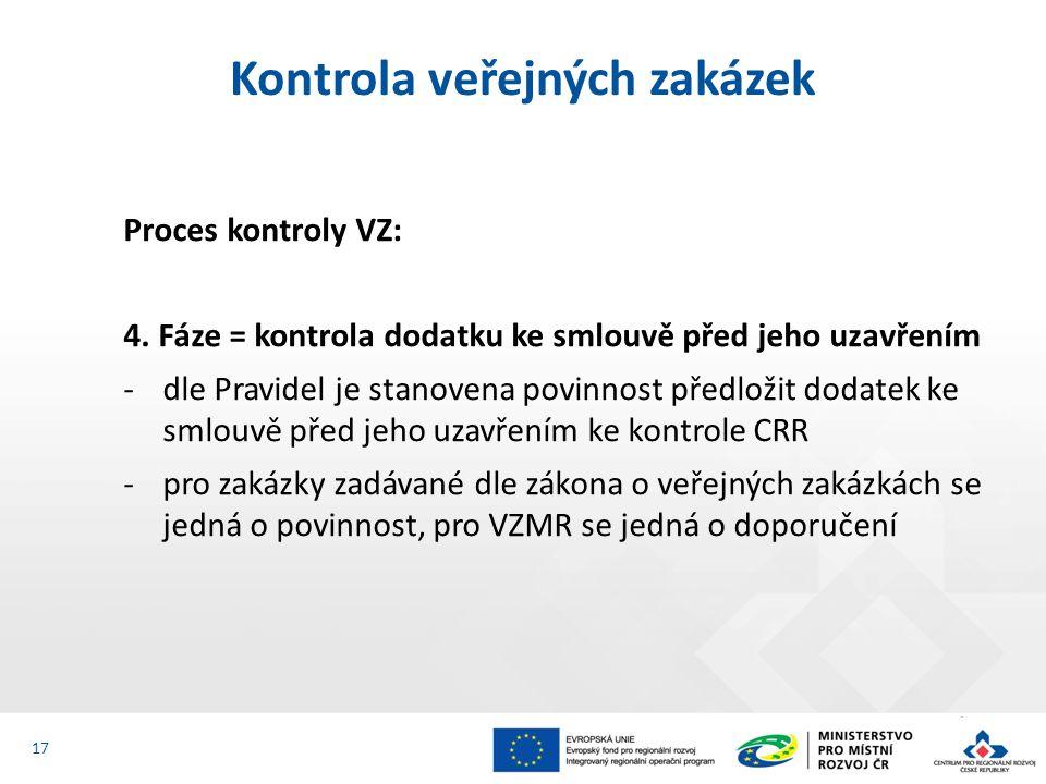 Proces kontroly VZ: 4. Fáze = kontrola dodatku ke smlouvě před jeho uzavřením -dle Pravidel je stanovena povinnost předložit dodatek ke smlouvě před j