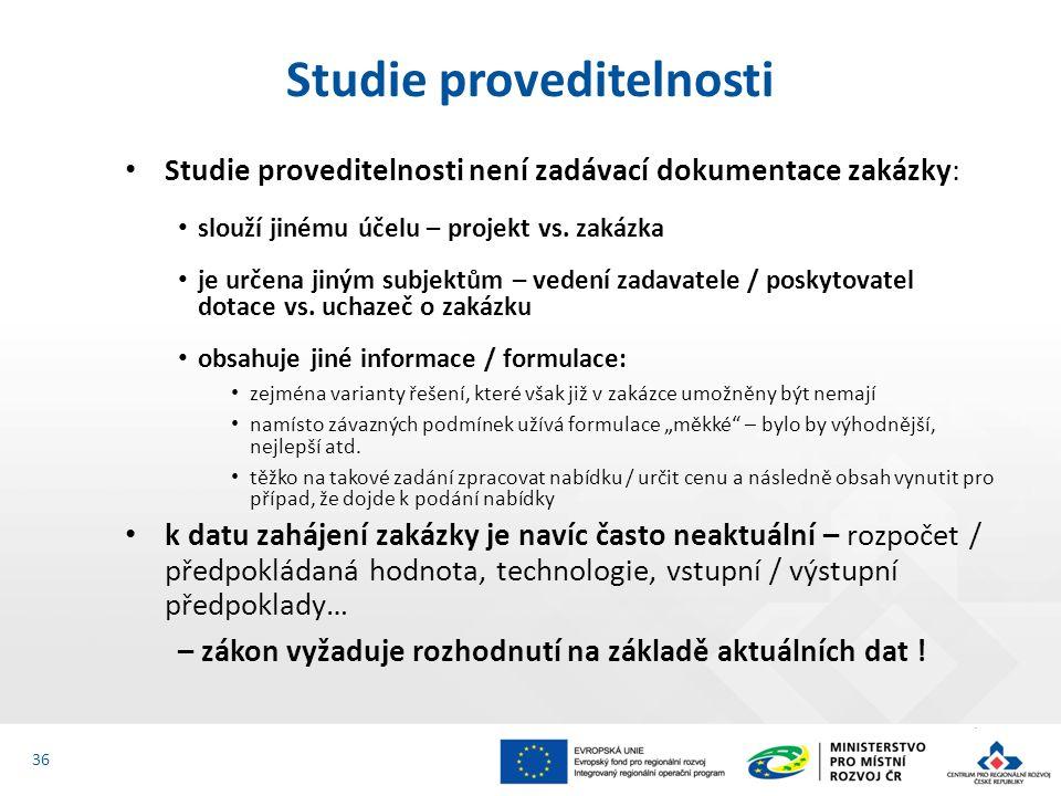 Studie proveditelnosti není zadávací dokumentace zakázky: slouží jinému účelu – projekt vs.