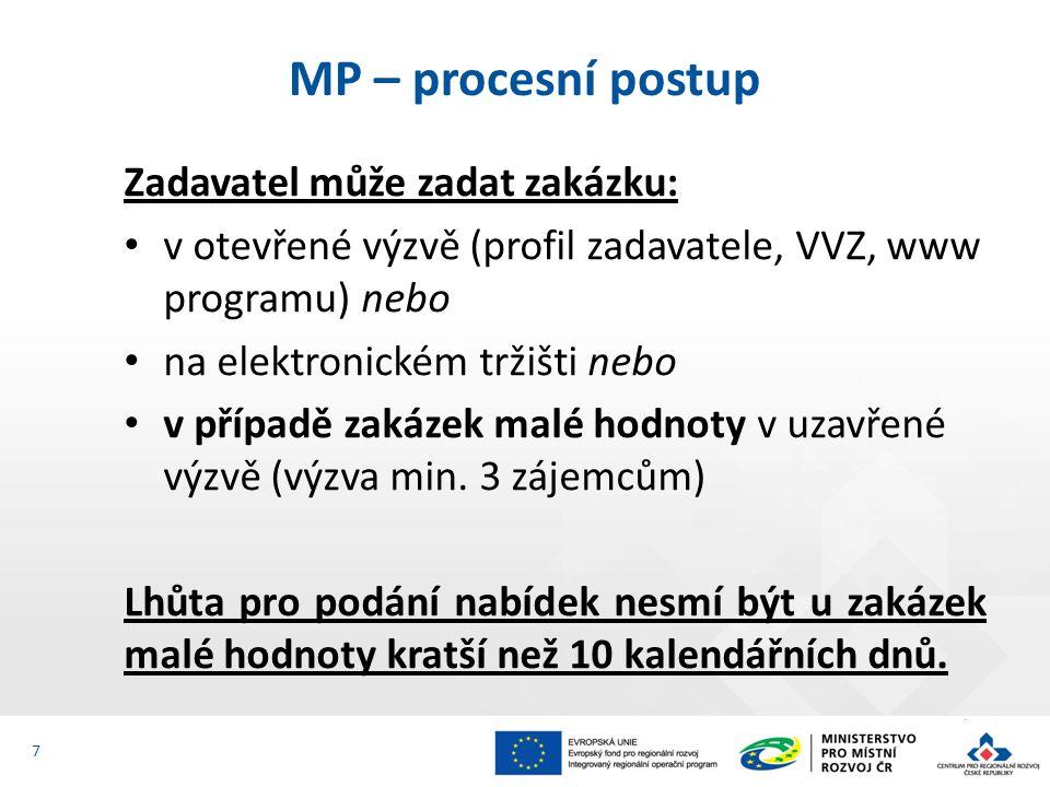 Zadavatel může zadat zakázku: v otevřené výzvě (profil zadavatele, VVZ, www programu) nebo na elektronickém tržišti nebo v případě zakázek malé hodnoty v uzavřené výzvě (výzva min.
