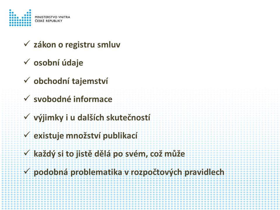 zákon o registru smluv osobní údaje obchodní tajemství svobodné informace výjimky i u dalších skutečností existuje množství publikací každý si to jistě dělá po svém, což může podobná problematika v rozpočtových pravidlech
