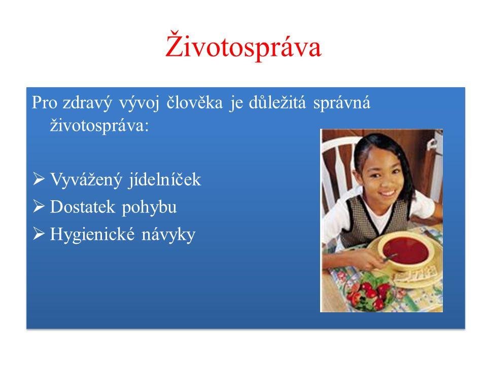 Životospráva Pro zdravý vývoj člověka je důležitá správná životospráva:  Vyvážený jídelníček  Dostatek pohybu  Hygienické návyky Pro zdravý vývoj člověka je důležitá správná životospráva:  Vyvážený jídelníček  Dostatek pohybu  Hygienické návyky