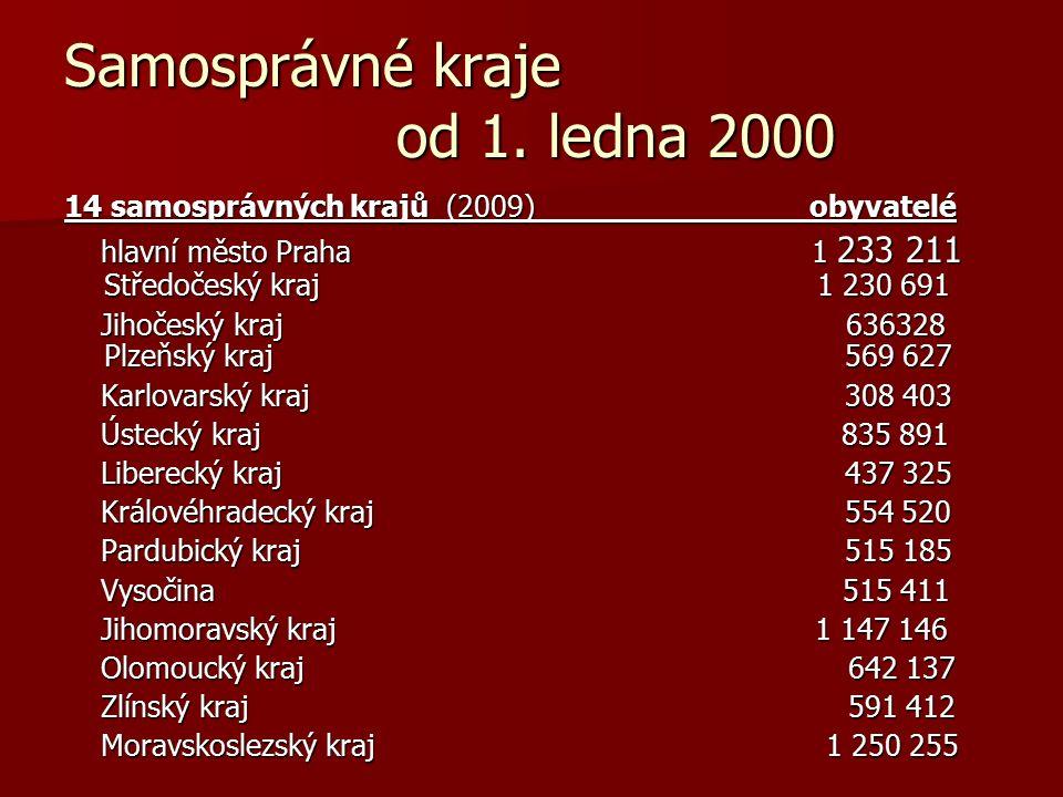 Samosprávné kraje od 1. ledna 2000 14 samosprávných krajů (2009) obyvatelé hlavní město Praha 1 233 211 Středočeský kraj 1 230 691 hlavní město Praha