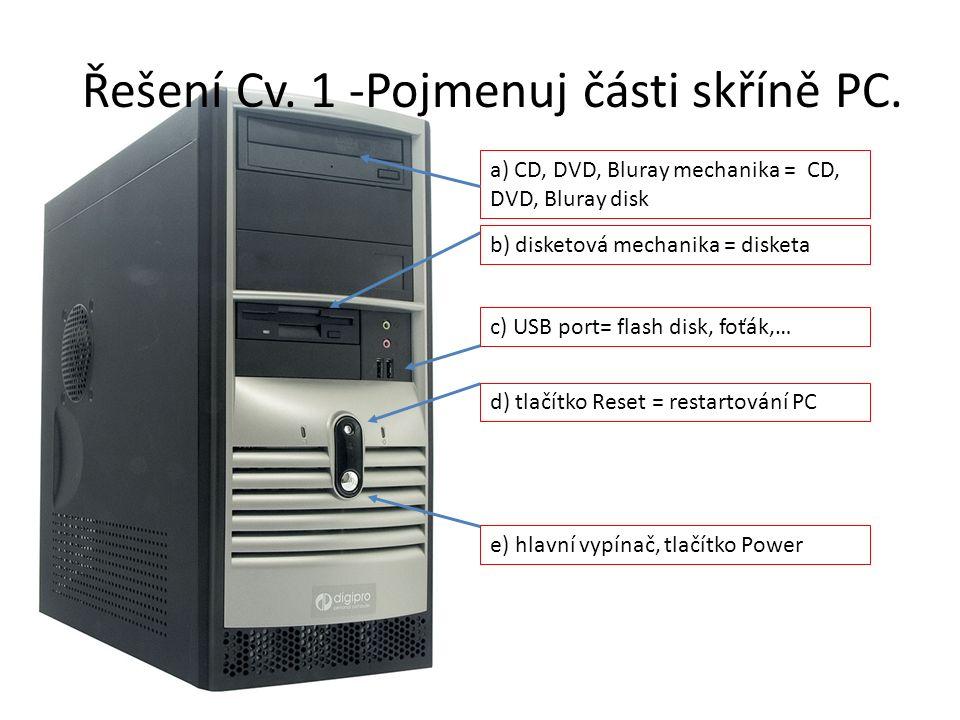 Řešení Cv. 1 -Pojmenuj části skříně PC.