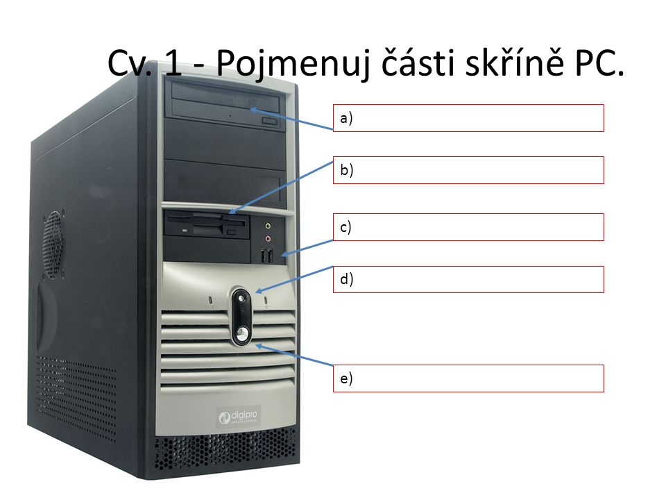 Cv. 1 - Pojmenuj části skříně PC. a) b) c) d) e)