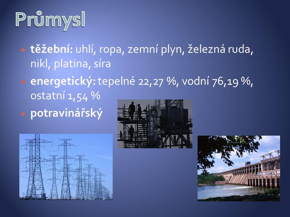  těžební: uhlí, ropa, zemní plyn, železná ruda, nikl, platina, síra  energetický: tepelné 22,27 %, vodní 76,19 %, ostatní 1,54 %  potravinářský