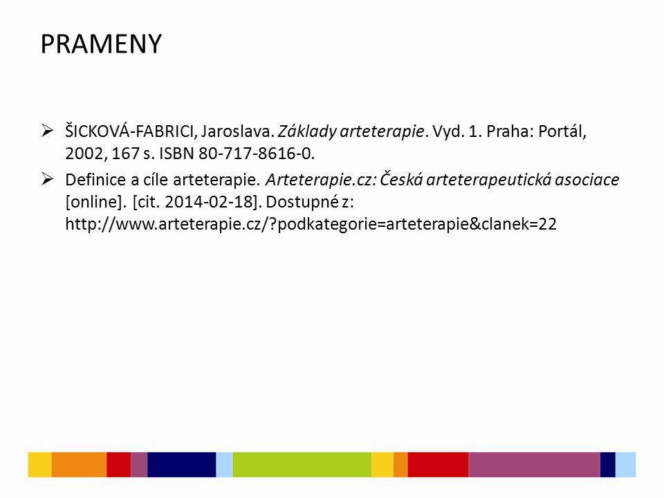 PRAMENY  ŠICKOVÁ-FABRICI, Jaroslava. Základy arteterapie.