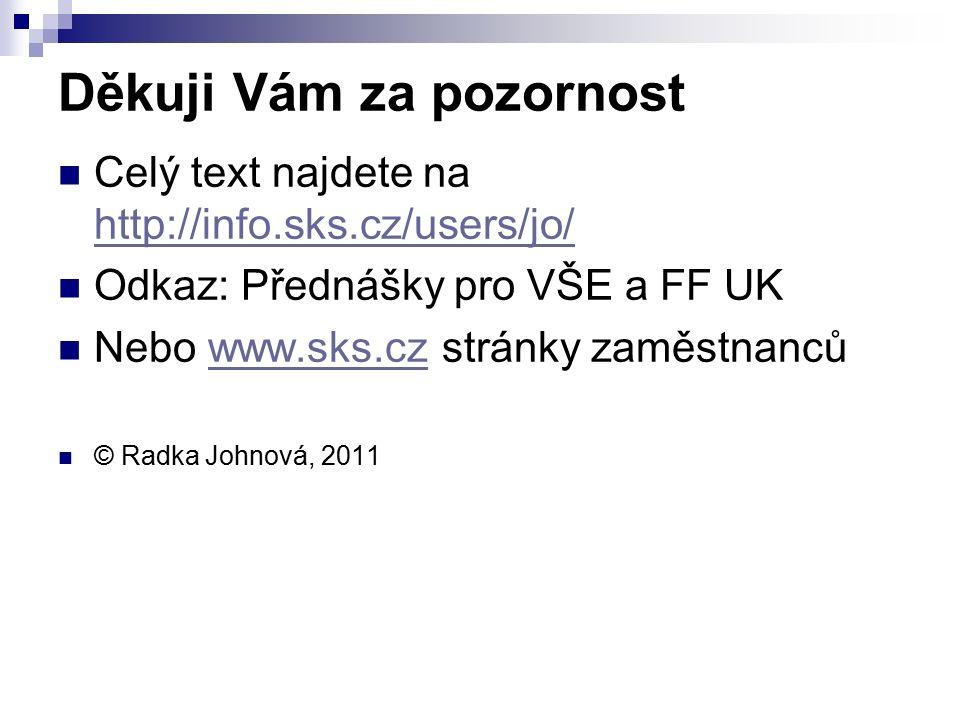 Děkuji Vám za pozornost Celý text najdete na http://info.sks.cz/users/jo/ http://info.sks.cz/users/jo/ Odkaz: Přednášky pro VŠE a FF UK Nebo www.sks.cz stránky zaměstnancůwww.sks.cz © Radka Johnová, 2011