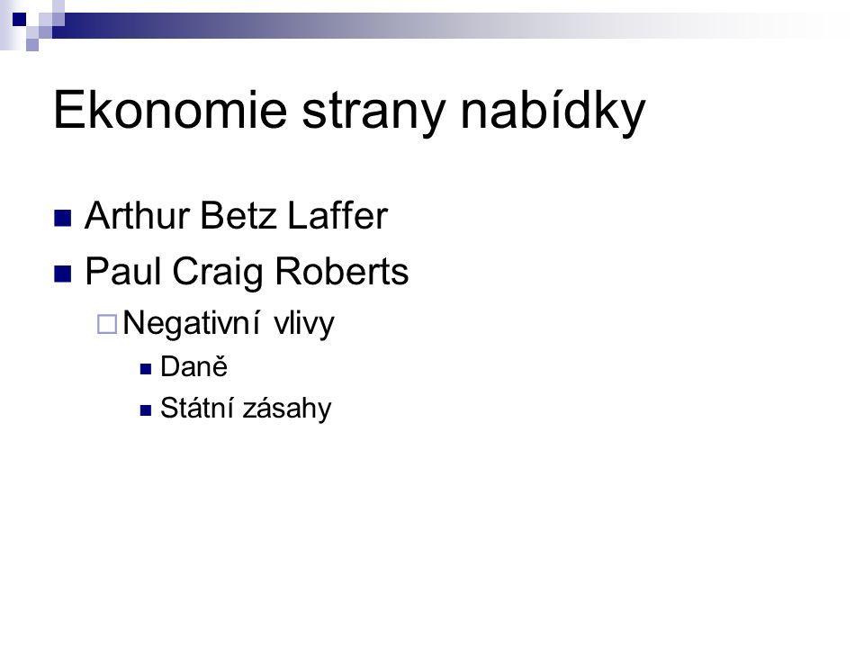 Ekonomie strany nabídky Arthur Betz Laffer Paul Craig Roberts  Negativní vlivy Daně Státní zásahy