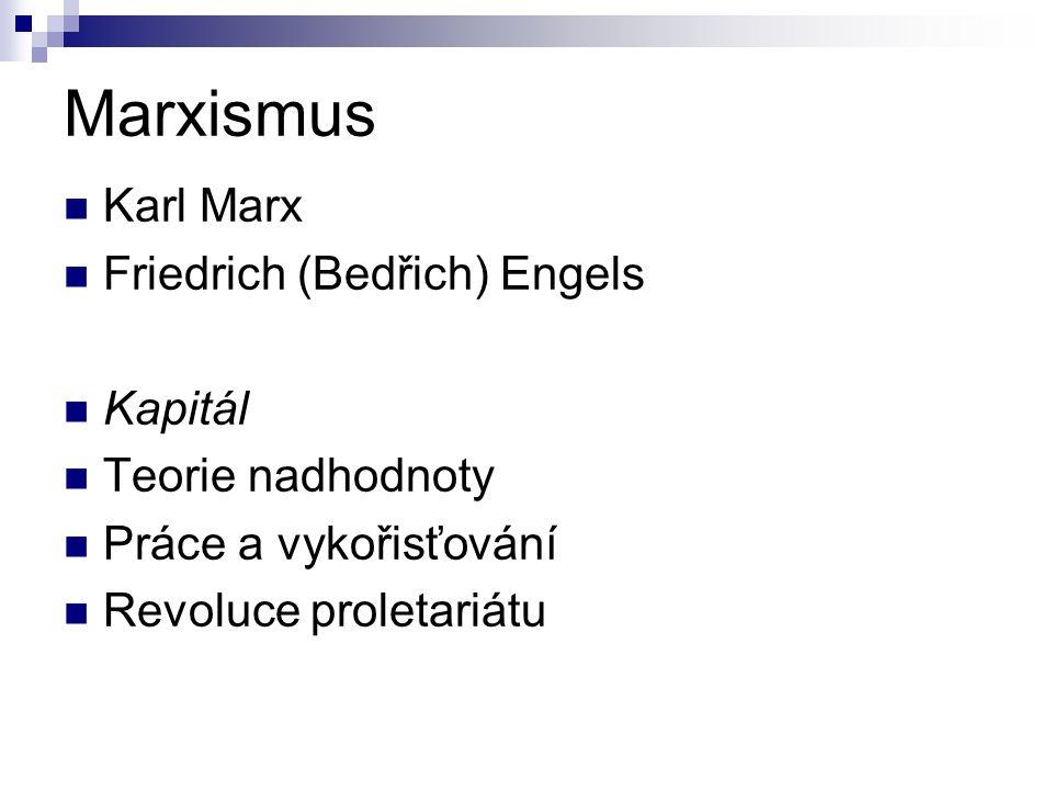 Marxismus Karl Marx Friedrich (Bedřich) Engels Kapitál Teorie nadhodnoty Práce a vykořisťování Revoluce proletariátu