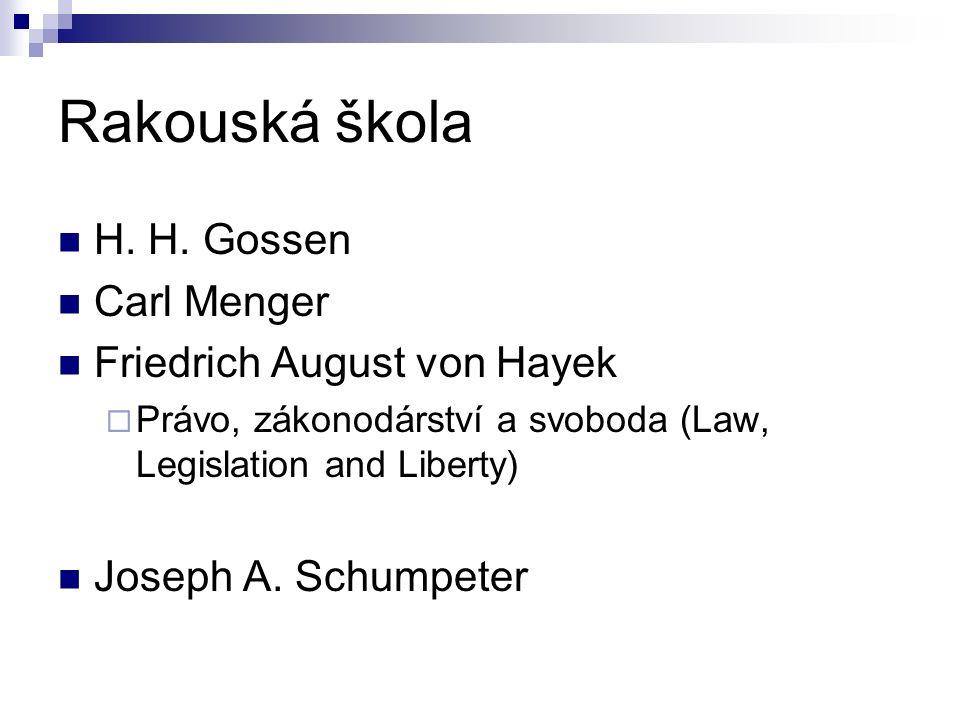 Rakouská škola H. H. Gossen Carl Menger Friedrich August von Hayek  Právo, zákonodárství a svoboda (Law, Legislation and Liberty) Joseph A. Schumpete