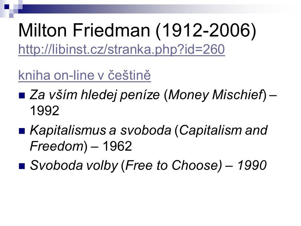 Milton Friedman (1912-2006) http://libinst.cz/stranka.php?id=260 http://libinst.cz/stranka.php?id=260 kniha on-line v češtině Za vším hledej peníze (Money Mischief) – 1992 Kapitalismus a svoboda (Capitalism and Freedom) – 1962 Svoboda volby (Free to Choose) – 1990