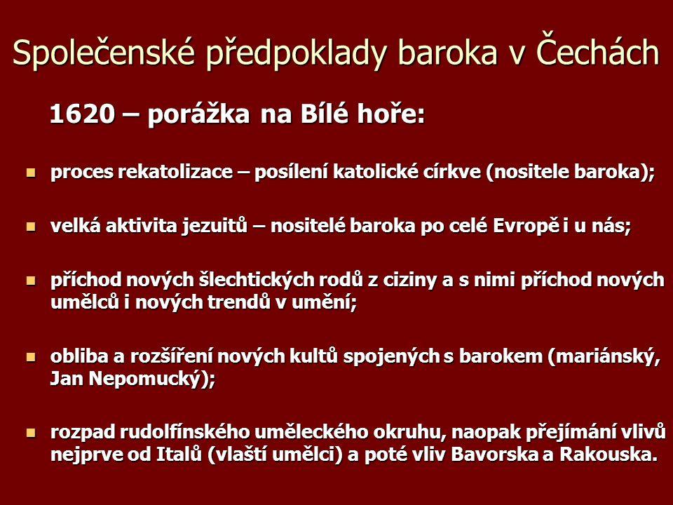 Společenské předpoklady baroka v Čechách 1620 – porážka na Bílé hoře: 1620 – porážka na Bílé hoře: proces rekatolizace – posílení katolické církve (no