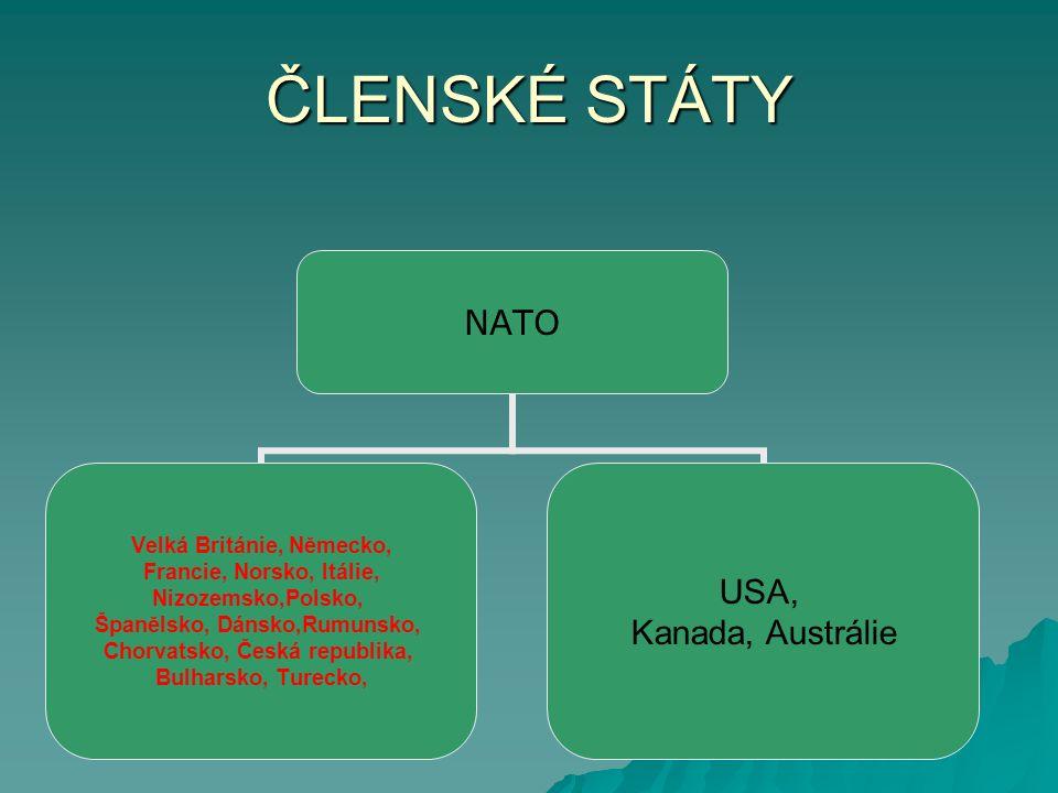 ČLENSKÉ STÁTY NATO Velká Británie, Německo, Francie, Norsko, Itálie, Nizozemsko,Polsko, Španělsko, Dánsko,Rumunsko, Chorvatsko, Česká republika, Bulharsko, Turecko, USA, Kanada, Austrálie