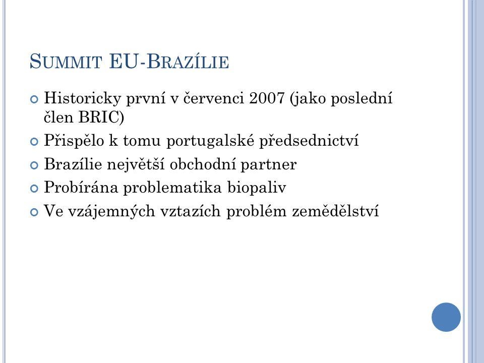 S UMMIT EU-B RAZÍLIE Historicky první v červenci 2007 (jako poslední člen BRIC) Přispělo k tomu portugalské předsednictví Brazílie největší obchodní partner Probírána problematika biopaliv Ve vzájemných vztazích problém zemědělství