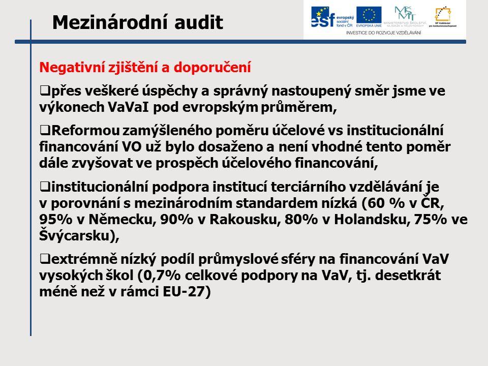 Mezinárodní audit Negativní zjištění a doporučení  přes veškeré úspěchy a správný nastoupený směr jsme ve výkonech VaVaI pod evropským průměrem,  Reformou zamýšleného poměru účelové vs institucionální financování VO už bylo dosaženo a není vhodné tento poměr dále zvyšovat ve prospěch účelového financování,  institucionální podpora institucí terciárního vzdělávání je v porovnání s mezinárodním standardem nízká (60 % v ČR, 95% v Německu, 90% v Rakousku, 80% v Holandsku, 75% ve Švýcarsku),  extrémně nízký podíl průmyslové sféry na financování VaV vysokých škol (0,7% celkové podpory na VaV, tj.