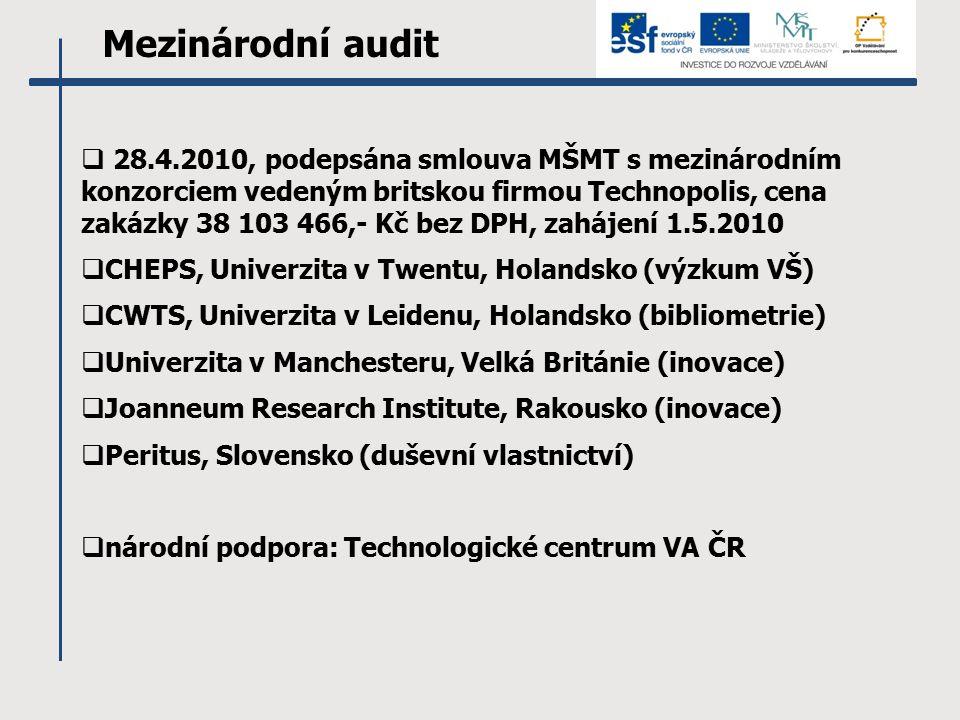 Mezinárodní audit  28.4.2010, podepsána smlouva MŠMT s mezinárodním konzorciem vedeným britskou firmou Technopolis, cena zakázky 38 103 466,- Kč bez DPH, zahájení 1.5.2010  CHEPS, Univerzita v Twentu, Holandsko (výzkum VŠ)  CWTS, Univerzita v Leidenu, Holandsko (bibliometrie)  Univerzita v Manchesteru, Velká Británie (inovace)  Joanneum Research Institute, Rakousko (inovace)  Peritus, Slovensko (duševní vlastnictví)  národní podpora: Technologické centrum VA ČR