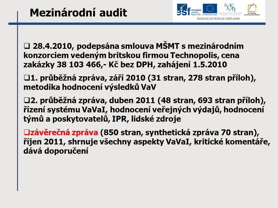 Mezinárodní audit  28.4.2010, podepsána smlouva MŠMT s mezinárodním konzorciem vedeným britskou firmou Technopolis, cena zakázky 38 103 466,- Kč bez DPH, zahájení 1.5.2010  1.
