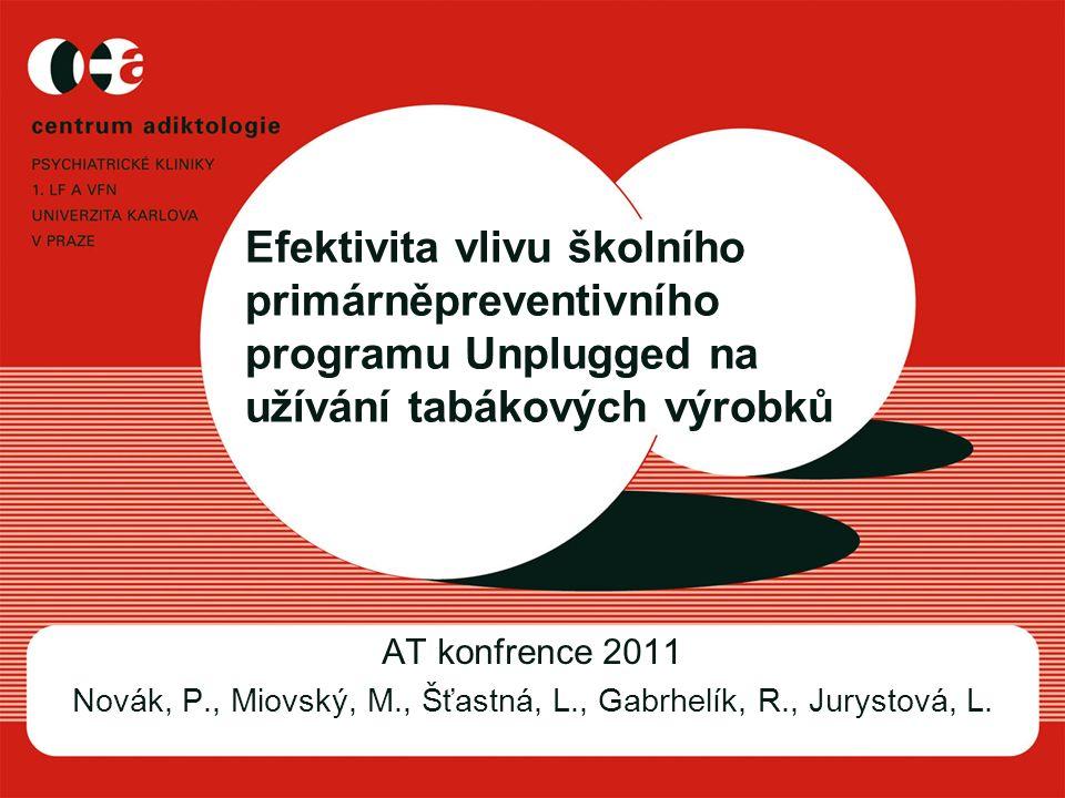 Efektivita vlivu školního primárněpreventivního programu Unplugged na užívání tabákových výrobků AT konfrence 2011 Novák, P., Miovský, M., Šťastná, L., Gabrhelík, R., Jurystová, L.