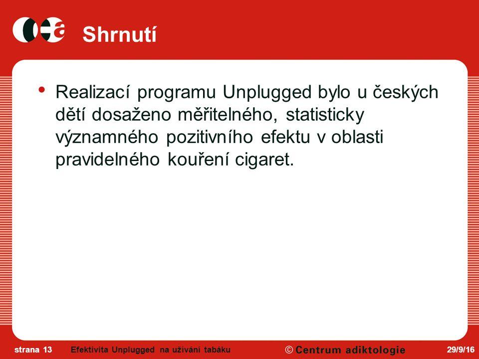 29/9/16strana 13 Shrnutí Realizací programu Unplugged bylo u českých dětí dosaženo měřitelného, statisticky významného pozitivního efektu v oblasti pravidelného kouření cigaret.