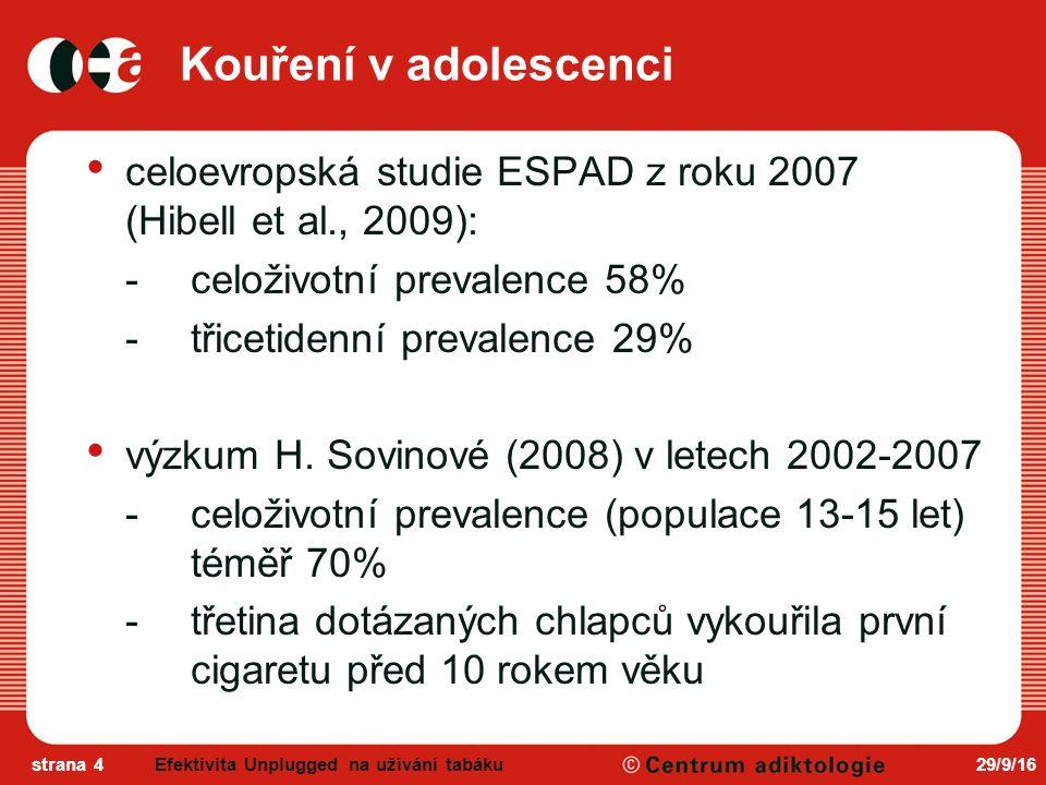 29/9/16strana 4 Kouření v adolescenci celoevropská studie ESPAD z roku 2007 (Hibell et al., 2009): -celoživotní prevalence 58% -třicetidenní prevalence 29% výzkum H.