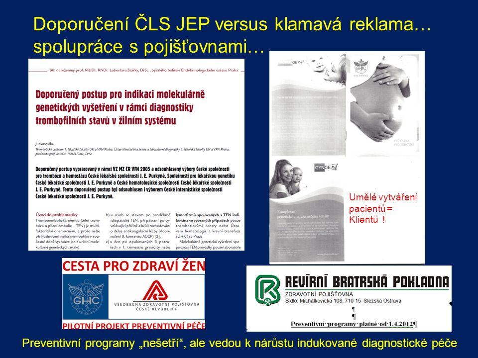 """Doporučení ČLS JEP versus klamavá reklama… spolupráce s pojišťovnami… Preventivní programy """"nešetří , ale vedou k nárůstu indukované diagnostické péče Umělé vytváření pacientů = Klientů !"""