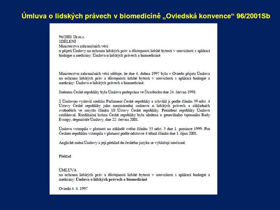 """Úmluva o lidských právech v biomedicíně """"Oviedská konvence 96/2001Sb"""
