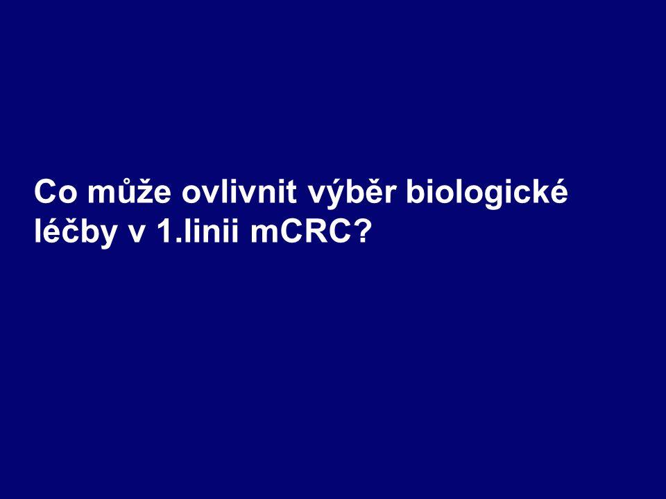 Co může ovlivnit výběr biologické léčby v 1.linii mCRC