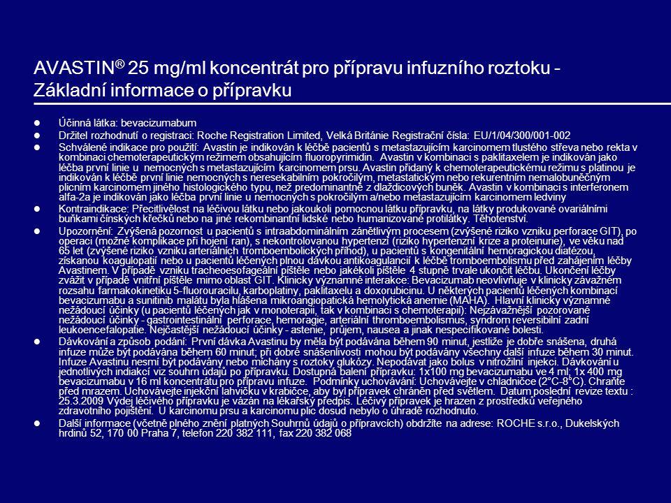 AVASTIN ® 25 mg/ml koncentrát pro přípravu infuzního roztoku - Základní informace o přípravku Účinná látka: bevacizumabum Držitel rozhodnutí o registraci: Roche Registration Limited, Velká Británie Registrační čísla: EU/1/04/300/001-002 Schválené indikace pro použití: Avastin je indikován k léčbě pacientů s metastazujícím karcinomem tlustého střeva nebo rekta v kombinaci chemoterapeutickým režimem obsahujícím fluoropyrimidin.