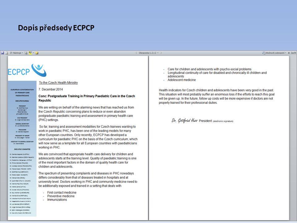 Dopis předsedy ECPCP