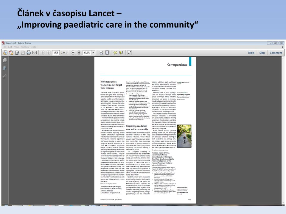 "Článek v časopisu Lancet – ""Improving paediatric care in the community"