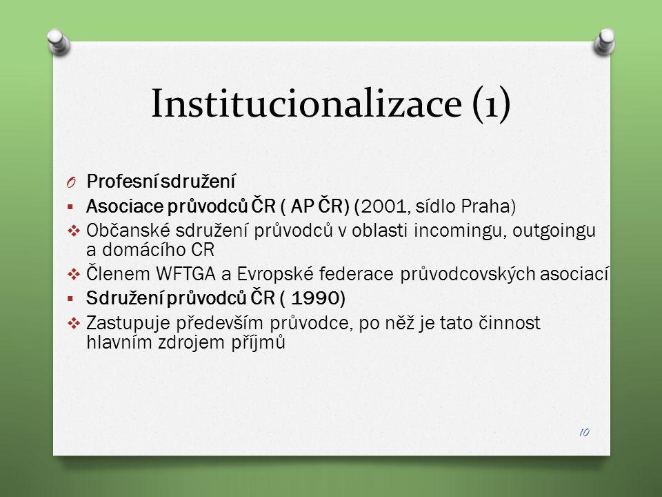 Institucionalizace (1) O Profesní sdružení  Asociace průvodců ČR ( AP ČR) (2001, sídlo Praha)  Občanské sdružení průvodců v oblasti incomingu, outgo