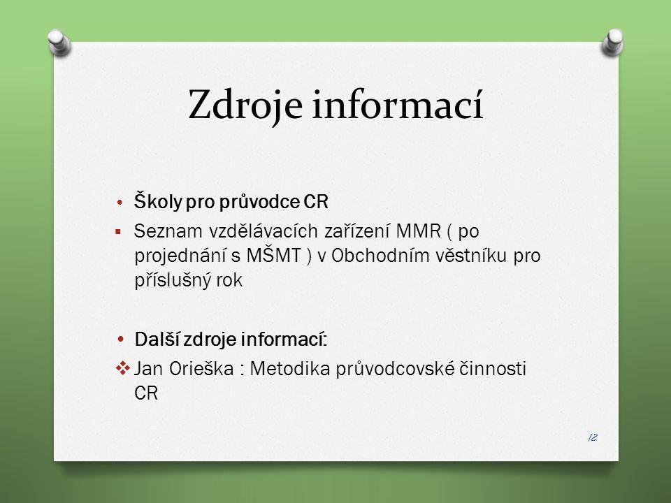 Zdroje informací Školy pro průvodce CR  Seznam vzdělávacích zařízení MMR ( po projednání s MŠMT ) v Obchodním věstníku pro příslušný rok Další zdroje