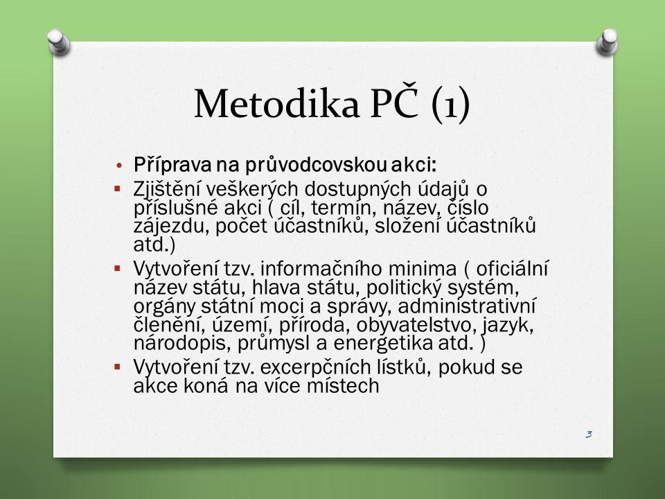 Metodika PČ (1) Příprava na průvodcovskou akci:  Zjištění veškerých dostupných údajů o příslušné akci ( cíl, termín, název, číslo zájezdu, počet účas