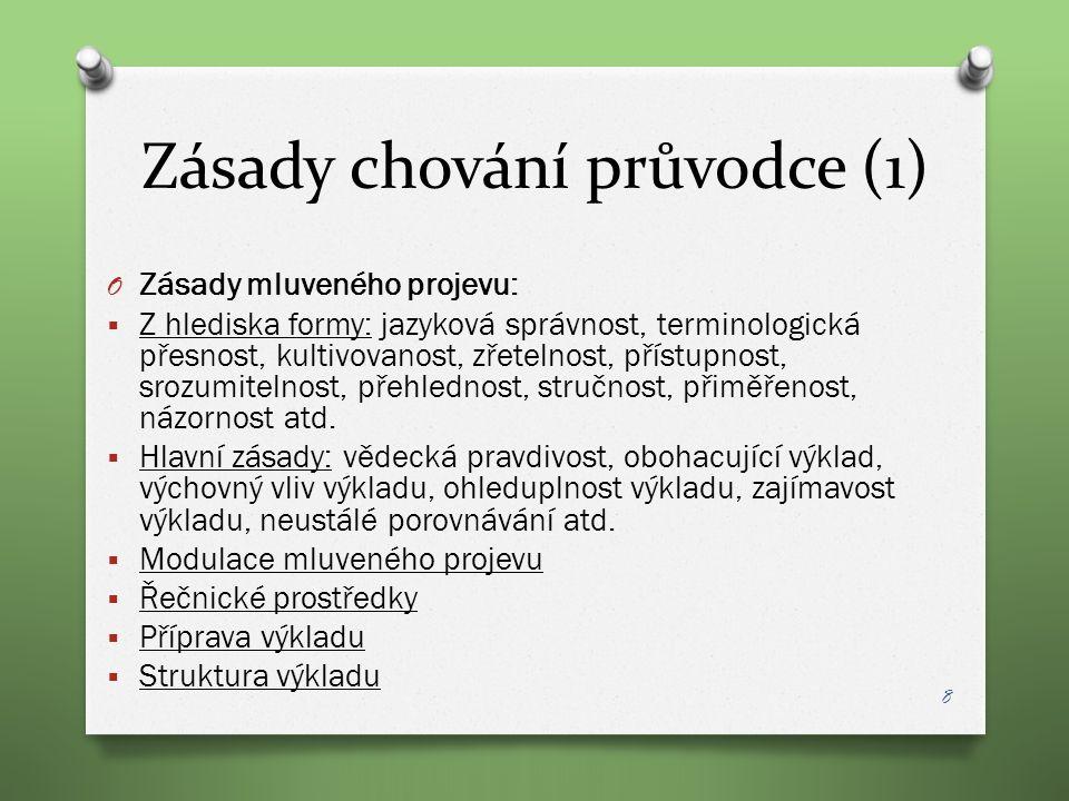 Zásady chování průvodce (1) O Zásady mluveného projevu:  Z hlediska formy: jazyková správnost, terminologická přesnost, kultivovanost, zřetelnost, př