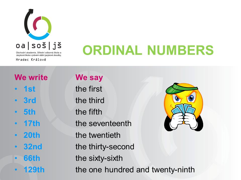 FRACTIONS We write: ½ ⅓ ¾ ⅞ 12½ We say: one half one third three fourths/quarters seven eighths twelve and a half