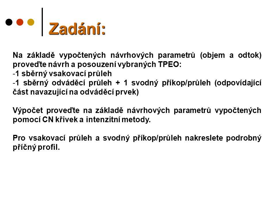 Zadání: Na základě vypočtených návrhových parametrů (objem a odtok) proveďte návrh a posouzení vybraných TPEO: -1 sběrný vsakovací průleh -1 sběrný od
