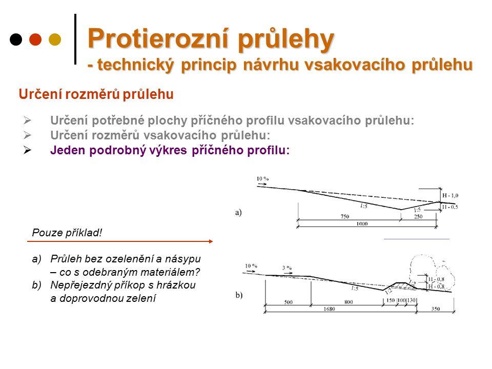 Určení rozměrů průlehu Protierozní průlehy - technický princip návrhu vsakovacího průlehu  Určení potřebné plochy příčného profilu vsakovacího průlehu:  Určení rozměrů vsakovacího průlehu:  Jeden podrobný výkres příčného profilu: Pouze příklad.