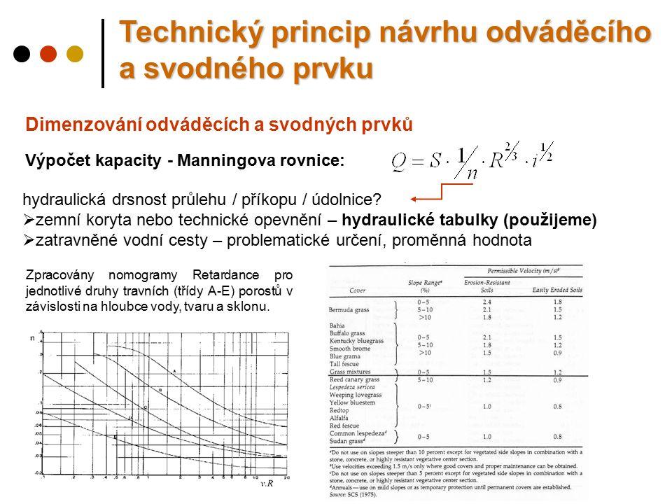 Dimenzování odváděcích a svodných prvků Výpočet kapacity - Manningova rovnice: hydraulická drsnost průlehu / příkopu / údolnice.