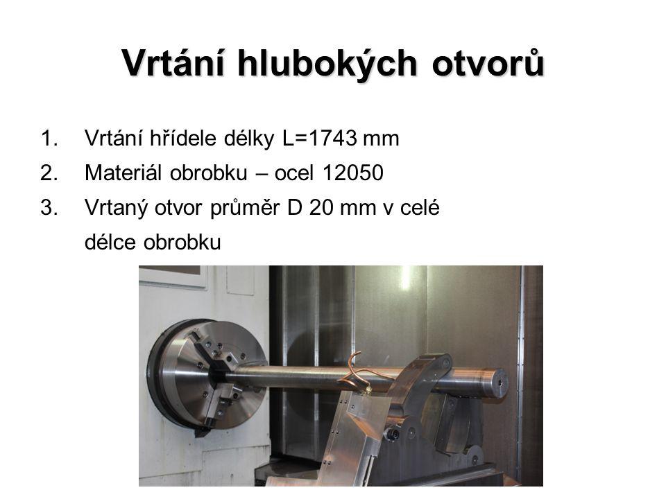 Vrtání hlubokých otvorů 1.Vrtání hřídele délky L=1743 mm 2.Materiál obrobku – ocel 12050 3.Vrtaný otvor průměr D 20 mm v celé délce obrobku