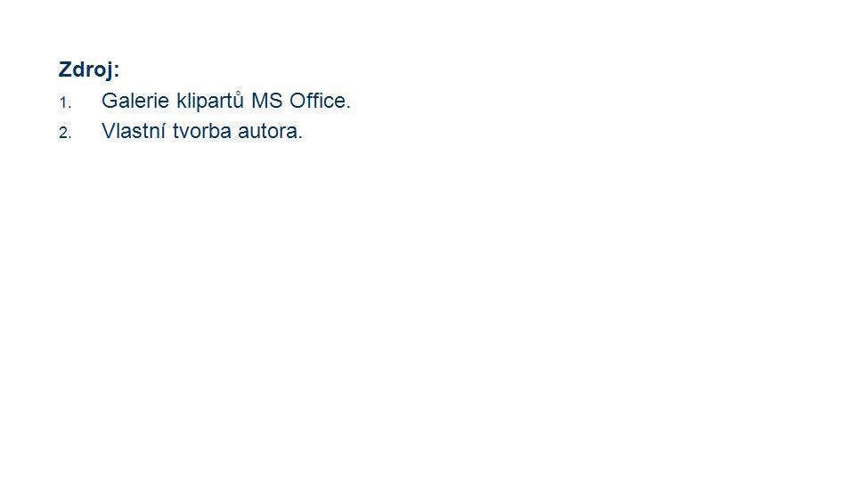 Zdroj: 1. Galerie klipartů MS Office. 2. Vlastní tvorba autora.