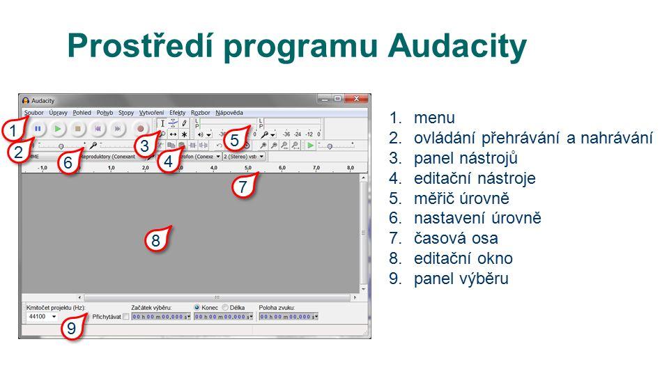 Prostředí programu Audacity 1.menu 2.ovládání přehrávání a nahrávání 3.panel nástrojů 4.editační nástroje 5.měřič úrovně 6.nastavení úrovně 7.časová osa 8.editační okno 9.panel výběru 1 1 2 2 3 3 4 4 5 5 6 6 7 7 8 8 9 9