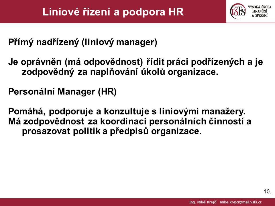 10. Liniové řízení a podpora HR Přímý nadřízený (liniový manager) Je oprávněn (má odpovědnost) řídit práci podřízených a je zodpovědný za naplňování ú