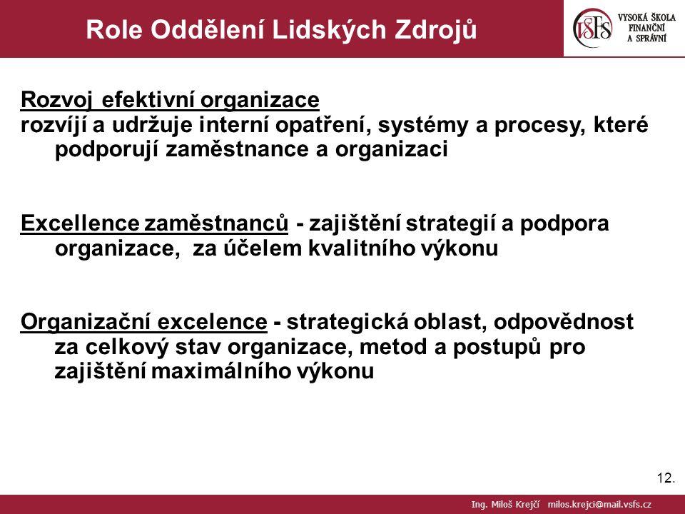 12. Role Oddělení Lidských Zdrojů Rozvoj efektivní organizace rozvíjí a udržuje interní opatření, systémy a procesy, které podporují zaměstnance a org