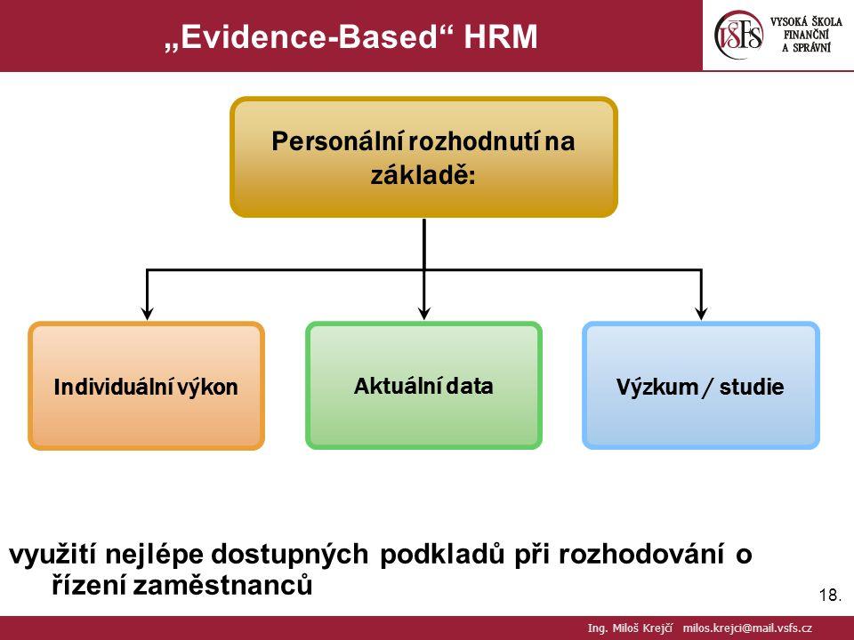 """18. """"Evidence-Based"""" HRM využití nejlépe dostupných podkladů při rozhodování o řízení zaměstnanců Ing. Miloš Krejčí milos.krejci@mail.vsfs.cz Individu"""