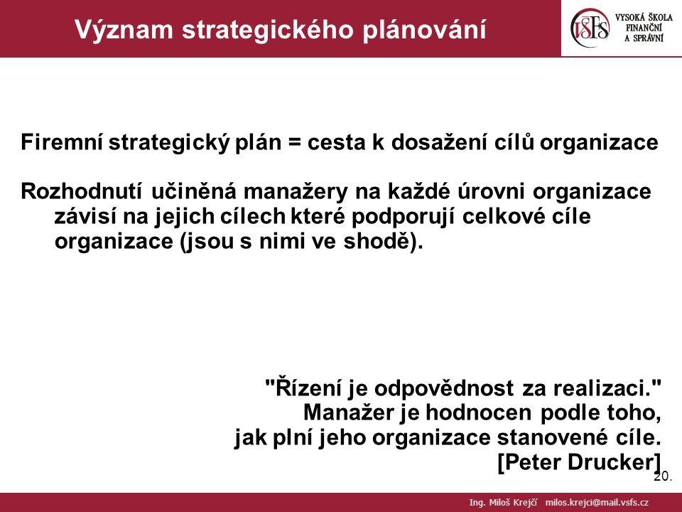 20. Význam strategického plánování Firemní strategický plán = cesta k dosažení cílů organizace Rozhodnutí učiněná manažery na každé úrovni organizace