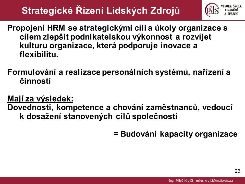 23. Strategické Řízení Lidských Zdrojů Propojení HRM se strategickými cíli a úkoly organizace s cílem zlepšit podnikatelskou výkonnost a rozvíjet kult