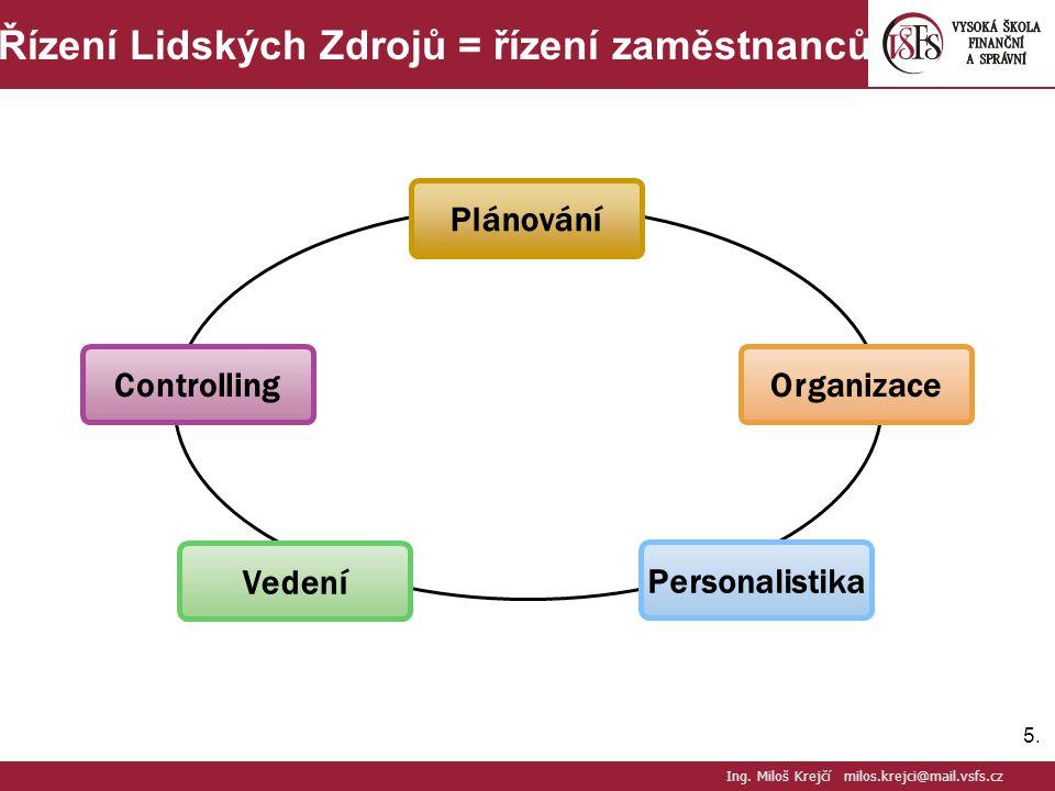 5.5. Řízení Lidských Zdrojů = řízení zaměstnanců Ing.