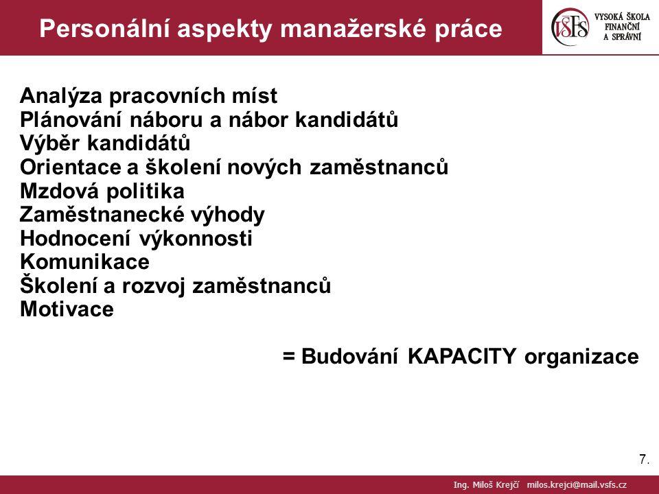 7.7. Personální aspekty manažerské práce Analýza pracovních míst Plánování náboru a nábor kandidátů Výběr kandidátů Orientace a školení nových zaměstn